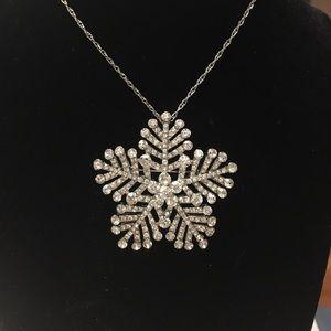 Rhinestone Snowflake Necklace-Brooch